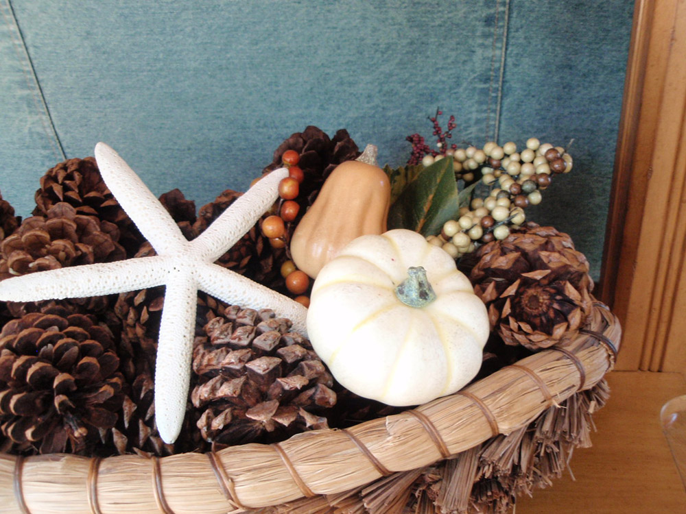 Fall decorating for the beach house basket